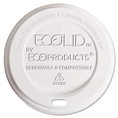 Eco-Products EcoLid Renewable Compostable Hot Cup Lid  PLA  Fits 10-20 oz Hot Cups  50 Pack  16 Packs Carton (ECP EP-ECOLID-W)