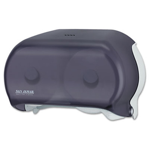 San Jamar VersaTwin Tissue Dispenser  8 x 5 3 4 x 12 3 4  Transparent Black Pearl (SAN R3600TBK)