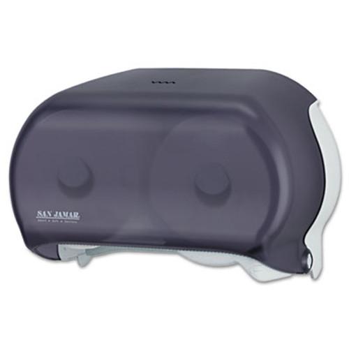 San Jamar VersaTwin Tissue Dispenser  8 x 5 3 4 x 12 3 4  Transparent Black Pearl (SAN R3600TBK)