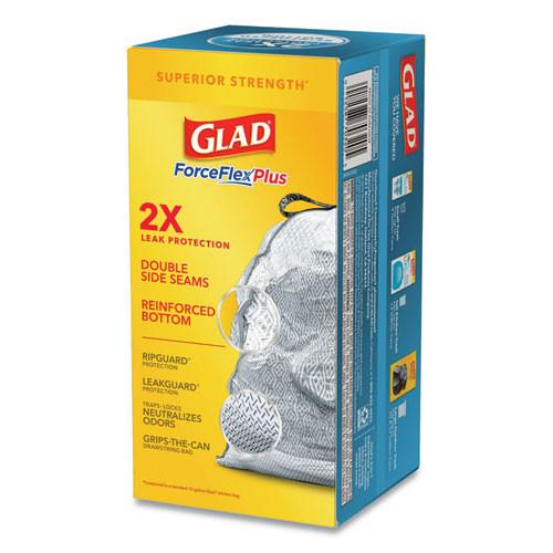 Glad ForceFlexPlus OdorShield Tall Kitchen Drawstring Trash Bags  13 gal  0 9 mil  24  x 28   White  204 Carton (CLO 70320)