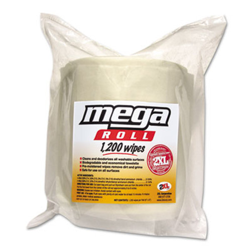 2XL Mega Roll Wipes Refill, 8 x 8, White, 1200/Roll, 2 Rolls/Carton (TXL L420)
