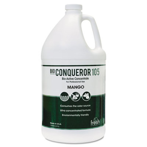 Fresh Products Bio Conqueror 105 Enzymatic Odor Counteractant Concentrate  Mango  1 gal  4 Carton (FRS 1-BWB-MG)