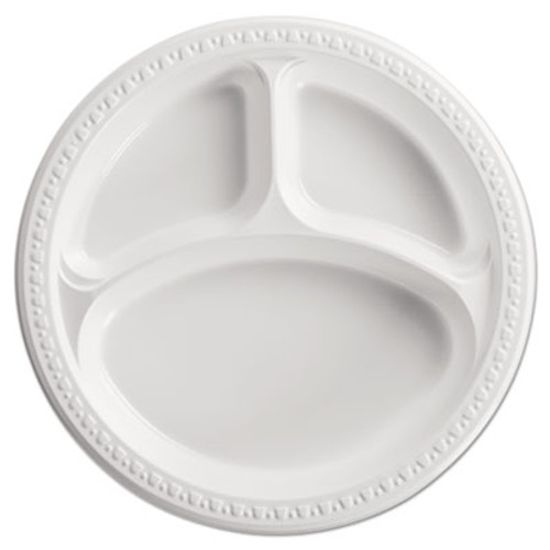 Chinet Heavyweight Plastic 3 Compartment Plates  10 1 4  Dia  White  125 PK  4 PK CT (HUH 81230)