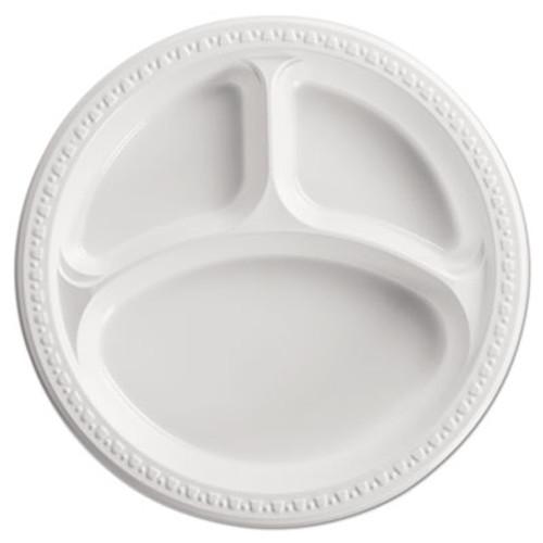 Chinet Heavyweight Plastic 3 Compartment Plates  10 1 4  Dia  White  125 PK  4 PK CT (HUH 81230)