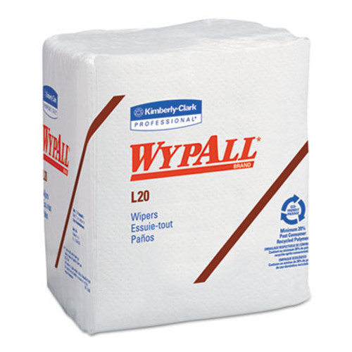 WypAll L20 Towels  1 4 Fold  4-Ply  12 1 5 x 13  White  68 Pack  12 Carton (KCC 47022)