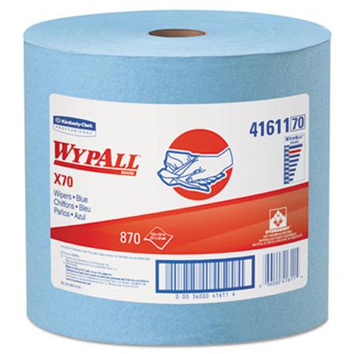 WypAll X70 Cloths  Jumbo Roll  12 1 2 x 13 2 5  Blue  870 Roll (KCC 41611)