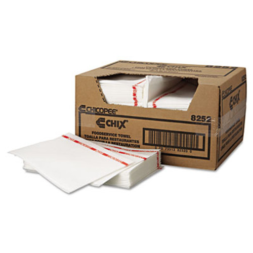 Chix Food Service Towels  13 x 21  Cotton  White Red  150 Carton (CHI8252)
