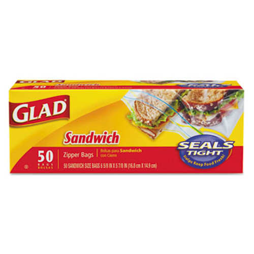 Glad Sandwich Zipper Bags, 6 5/8 x 8, Clear, 50/Box, 12 Boxes (CLO 57263)