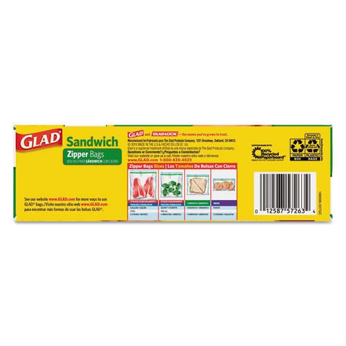 Glad Sandwich Zipper Bags  6 63  x 8   Clear  600 Carton (CLO 57263)