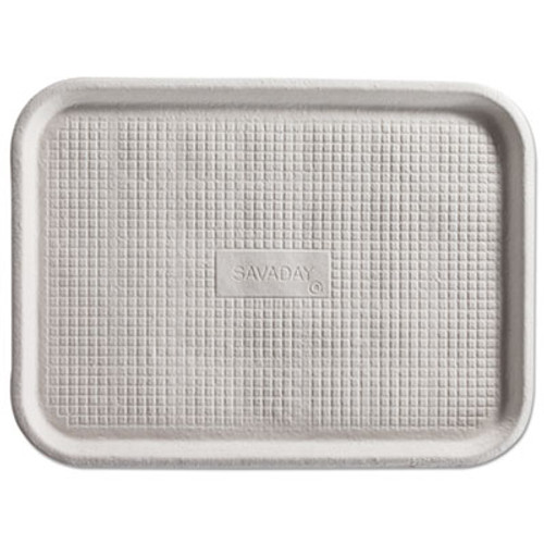 Chinet Savaday Molded Fiber Flat Food Tray, White, 12x16, 200/Carton (HUH FALL)
