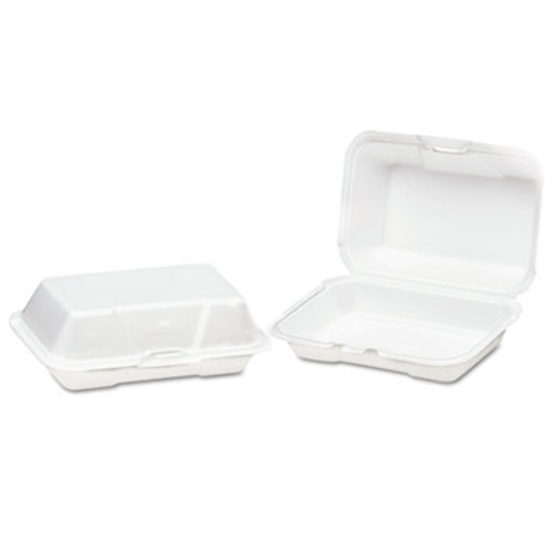 Genpak Foam Hinged Carryout Container, Deep, 8-1/4x5-1/5x3, White, 125/Bag, 4 Bags/CT (GNP 21700)