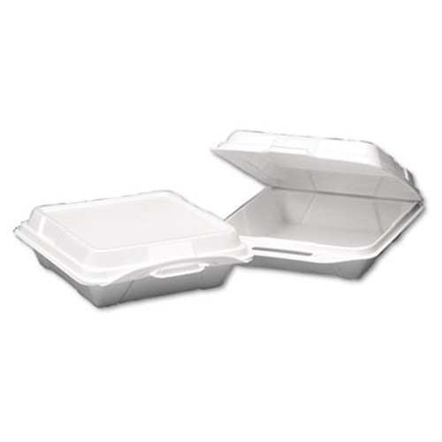 Genpak Foam Hinged Carryout Container, 1-Compartment, 9-1/4x9-1/4x3, White, 100/Bag (GNP 20010)