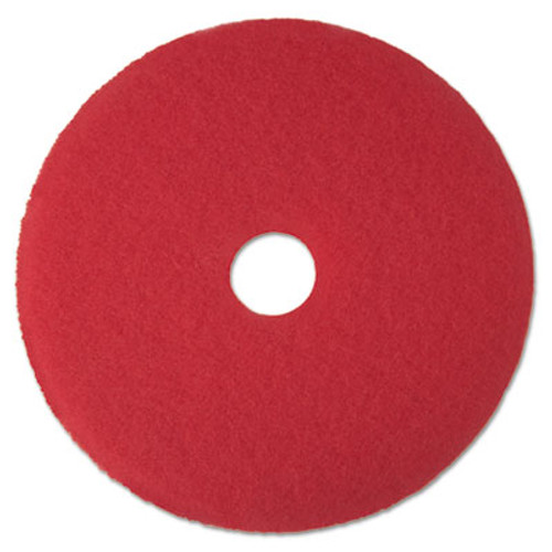 "3M Red Buffer Floor Pads 5100, Low-Speed, 14"", 5/Carton (MCO 08389)"