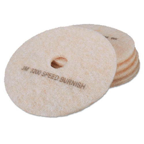 3M Ultra High-Speed TopLine Floor Burnishing Pads 3200  20  Dia   White Amber  5 CT (MCO 18066)