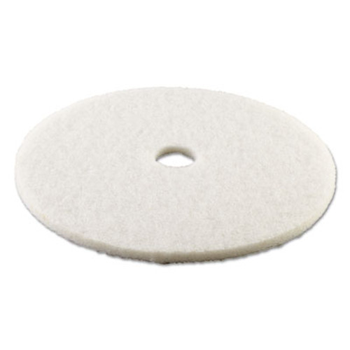 Boardwalk Polishing Floor Pads  24  Diameter  White  5 Carton (PAD 4024 WHI)