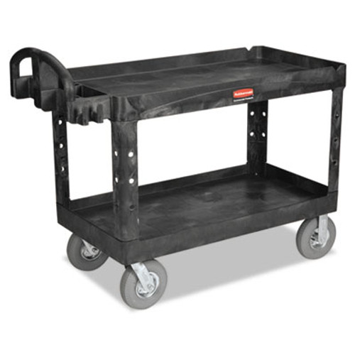 Rubbermaid Commercial Heavy-Duty 2-Shelf Utility Cart  TPR Casters  26w x 55d x 33 25h  Black (RCP 4546 BLA)