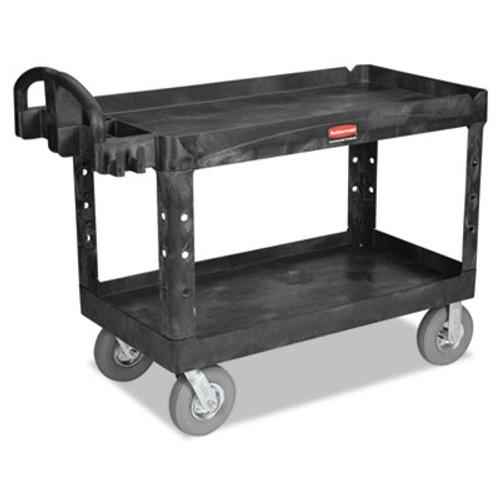 Rubbermaid Commercial Heavy-Duty 2-Shelf Utility Cart  TPR Casters  26w x 55d x 33 25h  Black (RCP 4546 BLA)