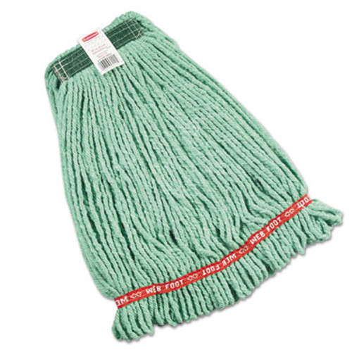 Rubbermaid Commercial Web Foot Wet Mop Heads  Shrinkless  Cotton Synthetic  Green  Medium (RCP A212 GRE)
