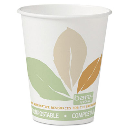 Dart Bare by Solo Eco-Forward PLA Paper Hot Cups  8 oz  Leaf Design 50 Bag 20 Bags Ct (SCC 378PLA-BB)