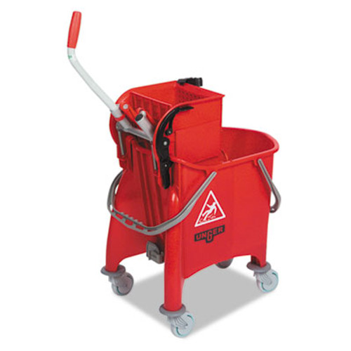 Unger Side-Press Restroom Mop Dual Bucket Combo  8gal  Plastic  Red (UNG COMBR)
