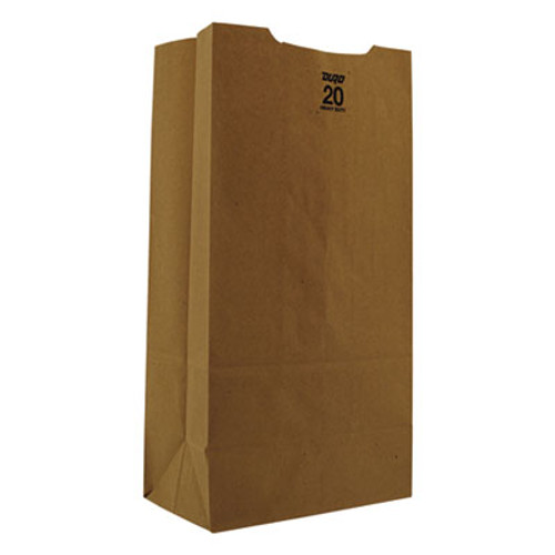 General Grocery Paper Bags  50 lbs Capacity   20  8 25 w x 5 94 d x 16 13 h  Kraft  500 Bags (BAG GH20)