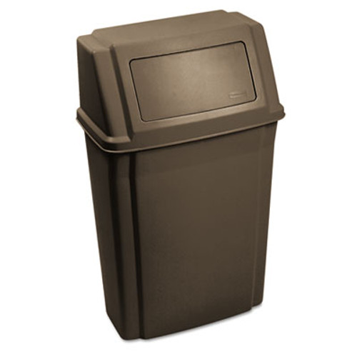 Rubbermaid Commercial Slim Jim Wall-Mounted Container, Rectangular, Plastic, 15 gal, Brown (RCP 7822 BRO)