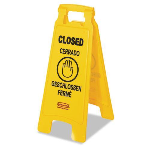 Rubbermaid Commercial Multilingual  Closed  Sign  2-Sided  Plastic  11w x 12d x 25h  Yellow (RCP 6112-78 YEL)