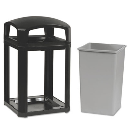 Rubbermaid Commercial Landmark Series Classic Dome Top Container w/Ashtray, Plastic, 35 gal, Sable (RCP 3970-01 SAB)