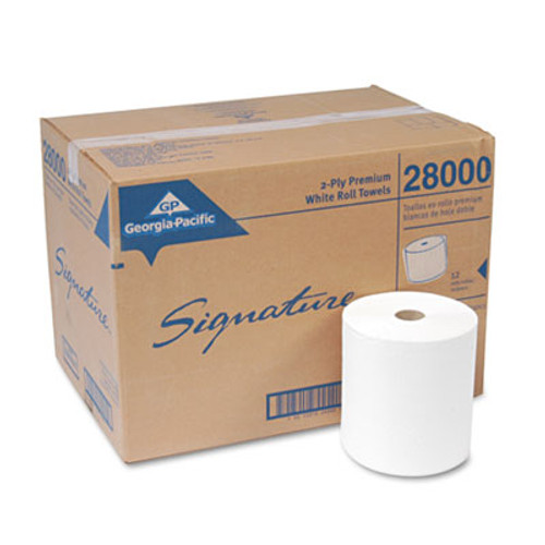 Georgia Pacific Professional Two-Ply Nonperforated Paper Towel Rolls, 7 7/8 x 350ft, White, 12 Rolls/Carton (GPC 280)