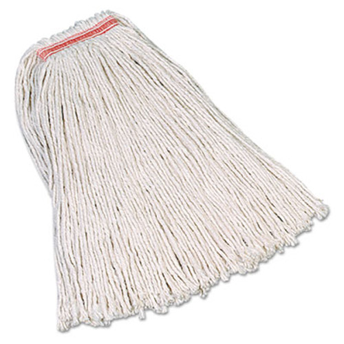 Rubbermaid Commercial Premium Cut-End Cotton Mop  White  20 oz  1-in  Orange Headband (RCP F117-12)