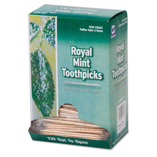 AmerCareRoyal Mint Cello-Wrapped Wood Toothpicks  2 1 2   Natural  1000 Box  15 Boxes Carton (RPP RM115)