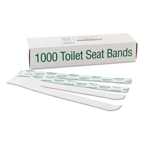 Bagcraft Sani Shield Printed Toilet Seat Band  Paper  Blue White  16  Wide x 1 5  Deep  1 000 Carton (BGC 300591)