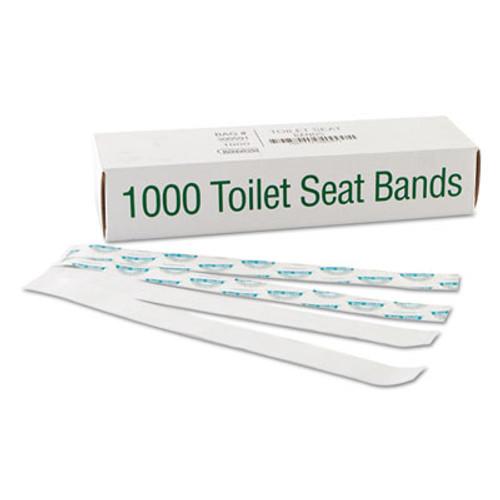 Bagcraft Sani Shield Printed Toilet Seat Band  Paper  Blue White  16  Wide x 1 5  Deep  1 000 Carton (BGC 300591)