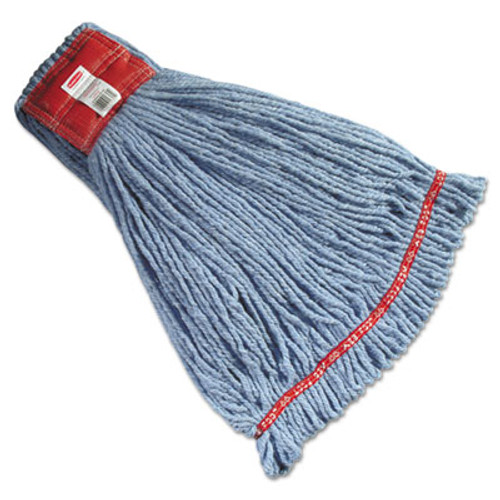 Rubbermaid Commercial Web Foot Wet Mop Heads  Shrinkless  Cotton Synthetic  Blue  Large (RCP A253 BLU)