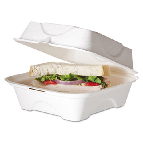 Eco-Products Renewable and Compostable Sugarcane Clamshells  6 x 6 x 3  50 Pack  10 Packs Carton (ECP EP-HC6)