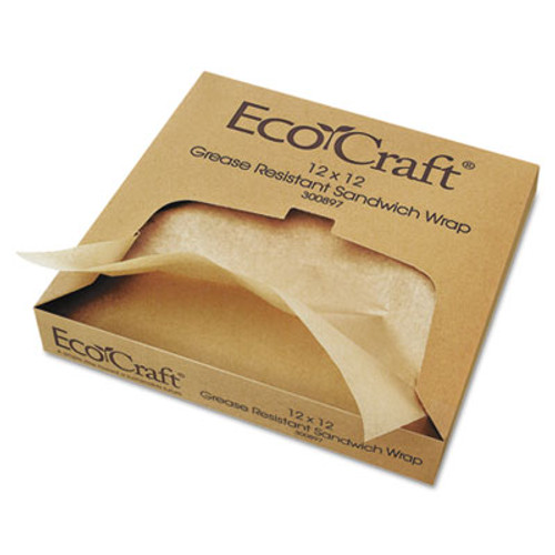 Bagcraft EcoCraft Grease-Resistant Paper Wraps and Liners  Natural  12 x 12  1000 Box  5 Boxes Carton (BGC 300897)