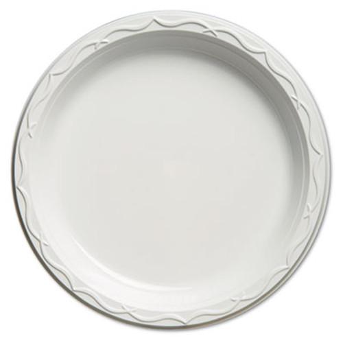 Genpak Aristocrat Plastic Plates, 10 1/4 Inches, White, Round, 125/Pack (GNP 71000)