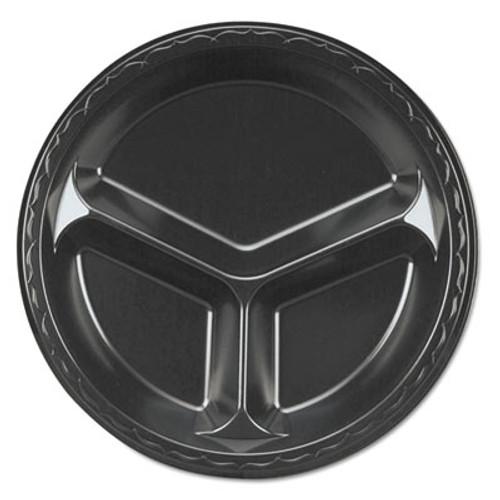 "Genpak Elite Laminated Foam 3-Compartment Plate, 10 1/4"" Dia, Black, 125/Pack, 4 PK/CT (GNP LAM13-3L)"