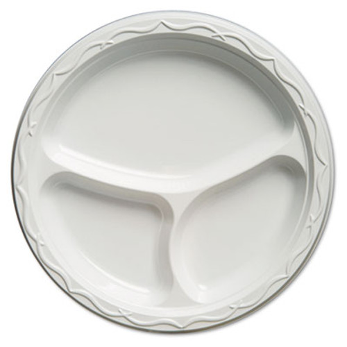 Genpak Aristocrat Plastic Plates, 10 1/4 Inches, White, Round, 3 Compartments, 125/Pack (GNP 71300)