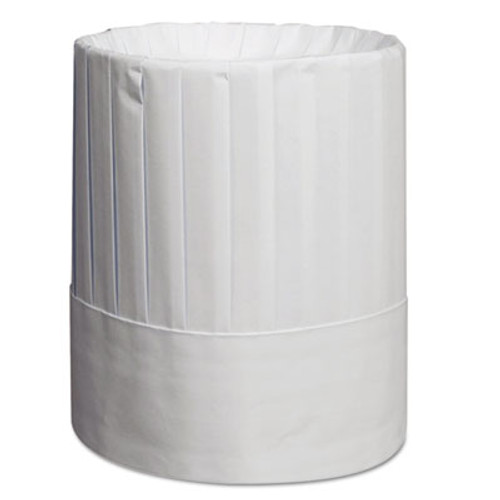 Royal Pleated Chef's Hats, Paper, White, Adjustable, 9 in Tall, One Size, 24/Carton (RPP RCH9)