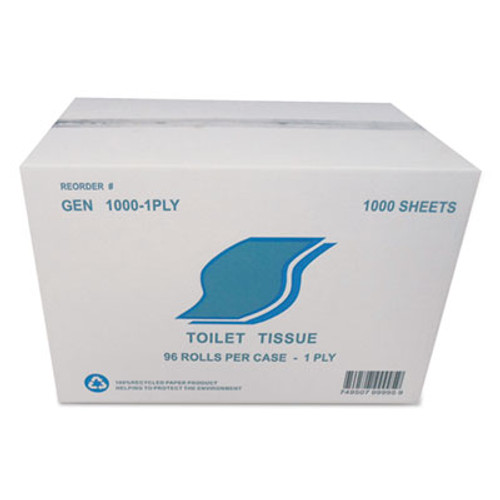 GEN Small Roll Bath Tissue  Septic Safe  1-Ply  White  1000 Sheets Roll  96 Rolls Carton (GEN 1000-1PLY)