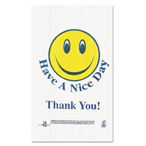 Barnes Paper Company Smiley Face Shopping Bags  12 5 microns  11 5  x 21   White  900 Carton (BPC T1/6SMILEY)