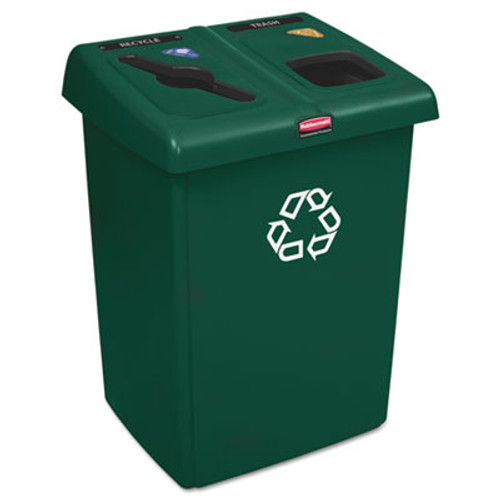 Rubbermaid Commercial Glutton Recycling Station, Two-Stream, 46 gal, Green (RCP 1792340)