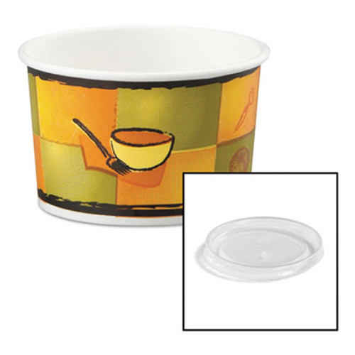Chinet Streetside Paper Food Container w Plastic Lid  Streetside Design  8-10oz  250 CT (HUH 70408)