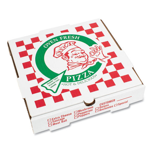 PIZZA Box Takeout Containers  12in Pizza  White  12w x 12d x 1 3 4h  50 Bundle (BOX PZCORE12)