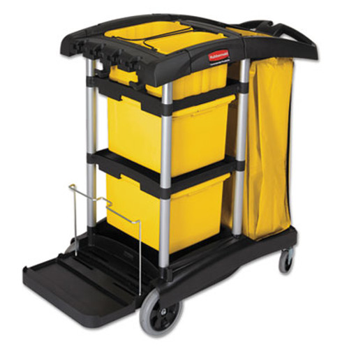 Rubbermaid Commercial HYGEN HYGEN M-fiber Healthcare Cleaning Cart, 22w x 48-1/4d x 44h, Black/Yellow/Silver (RCP 9T73)