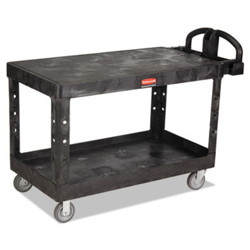 Rubbermaid Commercial Heavy-Duty 2-Shelf Utility Cart  TPR Casters  25 25w x 54d x 36h  Black (RCP 4545 BLA)