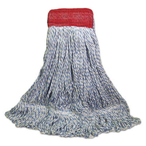 Boardwalk Mop Head  Floor Finish  Wide  Rayon Polyester  Large  White Blue  12 Carton (UNS 553)