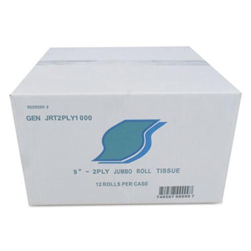 GEN Jumbo Bath Tissue, 2-Ply, White, 9 in Diameter, 12/Carton (GEN JRT2PLY1000)