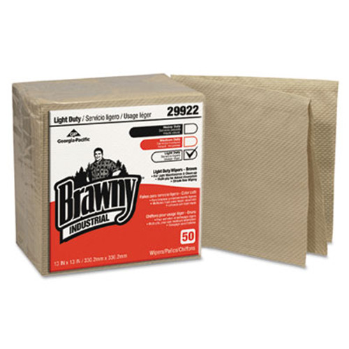 Georgia Pacific Professional Brawny Industrial 3-Ply Paper Wipers  Quarterfold  13x13  Brown  50 PK  12 CT (GPC 299-22)